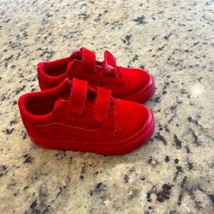 Vans toddler checkered red Velcro sneakers.